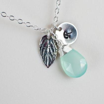 Initial Necklace,Mint Green Chalced..