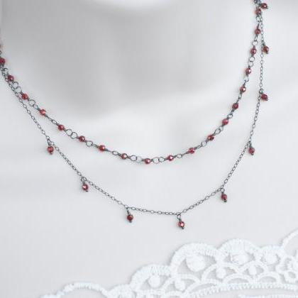 Garnet Necklace, Oxidized Sterling ..