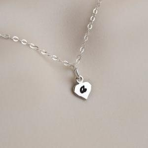Initial Necklace, Heart Initial Nec..