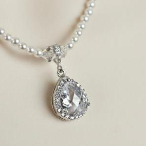 Bridal Necklace, Rhinestone Necklac..