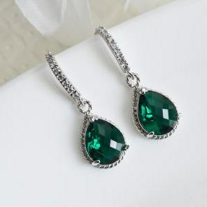 Emerald Green Earrings, Bridesmaids..