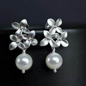 Bridal Earrings, Silver Cherry Blos..