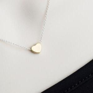 Heart Necklace, Tiny Gold Plated He..