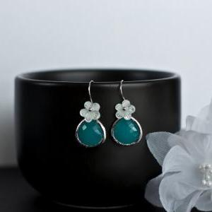 Bridesmaids Earrings, Mint Opal Gla..