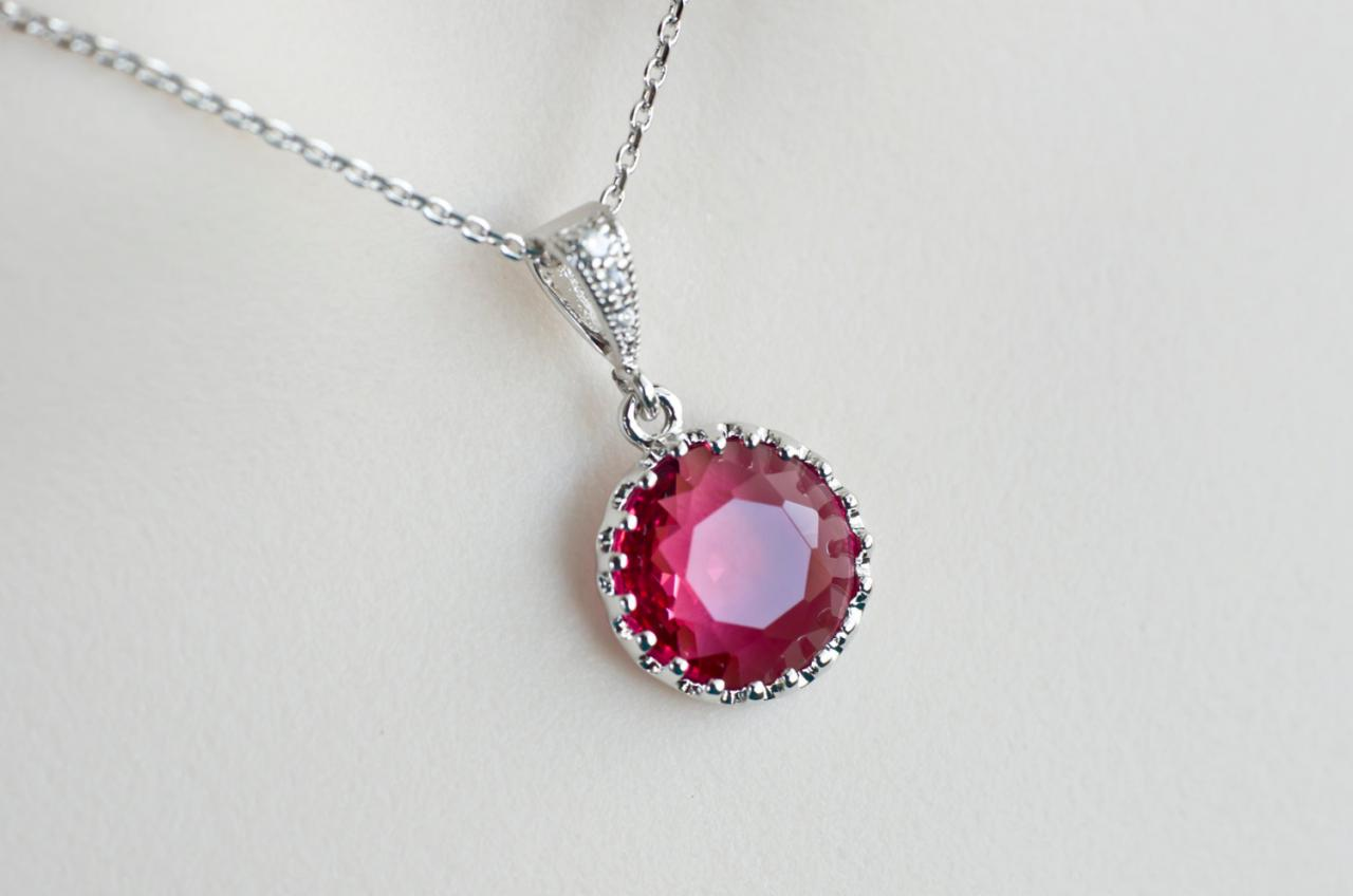 Fuchsia Necklace, Fuchsia Round Drop Necklace, Bridesmaids Necklace, Round Rhodium Plated Fuchsia Glass Drop Necklace
