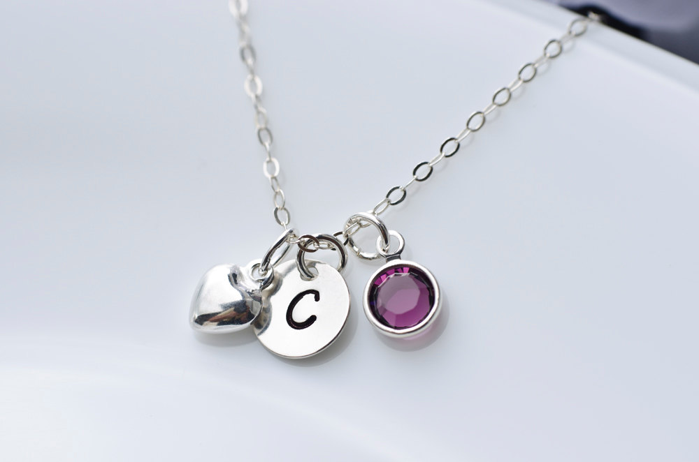Birthstone initial necklace swarovski birthstone sterling silver birthstone initial necklace swarovski birthstone sterling silver tiny heart charm and round initial disc aloadofball Image collections