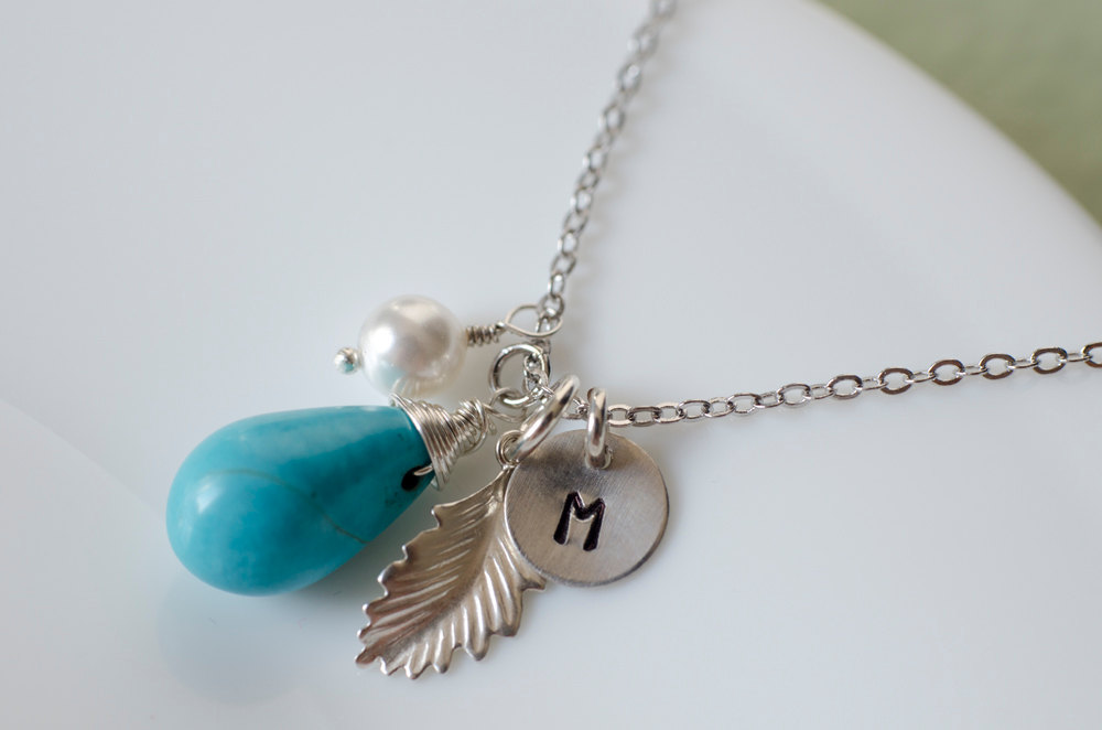 Initial necklace custom initial necklace turquoise necklace initial necklace custom initial necklace turquoise necklace december birthstone jewelry custom stamp aloadofball Image collections
