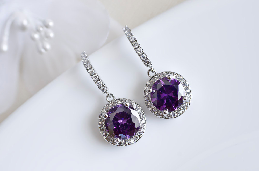 Purple Earrings Cubic Zirconia Amethyst Bridesmaids Round Drop