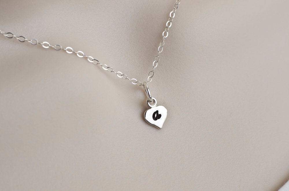Initial Necklace, Heart Initial Necklace, Tiny Sterling Silver Heart Initial Monogram Necklace-Tiny Initial Charm