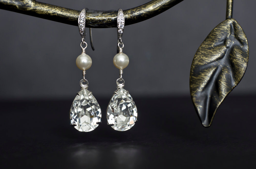 Bridal Earrings Pearl White Ivory Swarovski And Large Crystal