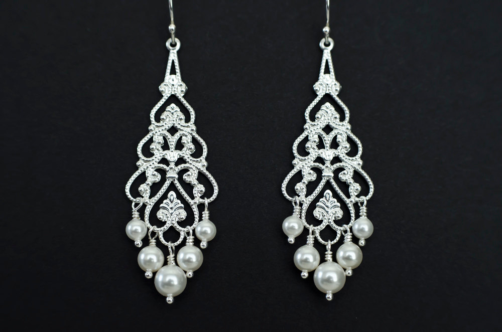 Bridal Chandelier Earrings Pearl Silver Filigree And White Ivory Swarovski Pearls