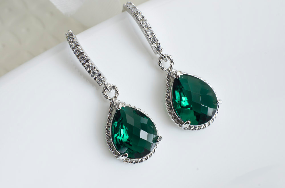 Emerald Green Earrings, Bridesmaids Earrings, Rhodium Plated Cubic Zirconia Earwires and Emerald Green Teardrop Glass Earrings