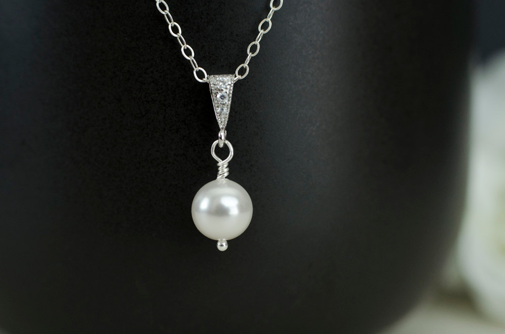 Single pearl pendant necklace rhinestone pearl bridal pendant single pearl pendant necklace rhinestone pearl bridal pendant sterling silver chain simple bridal aloadofball Images