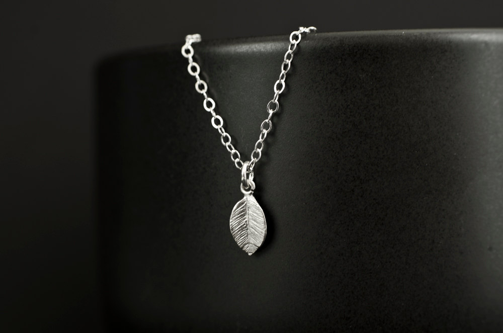 Tiny Leaf Silver Necklace, Silver Plated Leaf on Sterling Silver Chain