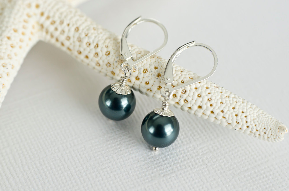 Bridesmaids Tahitian Swarovski Pearls Earrings in Sterling Silver, Peacock Teal Blue Pearl Earrings