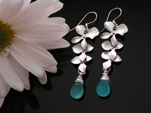 Triple Orchid and Blue Turquoise Candy Jade Earrings