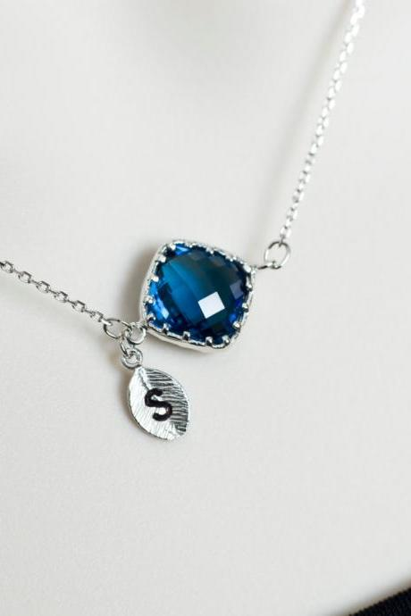 Initial Necklace, Blue Sapphire Initial Necklace, Rhodium Plted Blue Sapphire Glass Charm Personalized Necklace, Monogram Custom Necklace