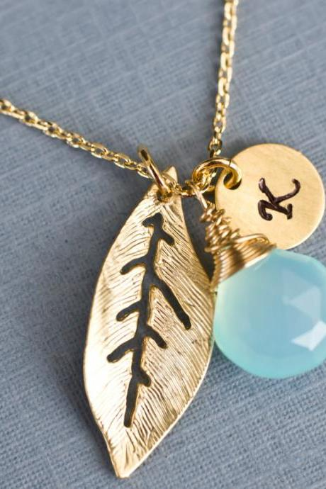 Gold Leaf Initial Necklace, Personalized Necklace, Initial Gold Plated Leaf Charm, Gold Vermeil Round Tag and Aqua Blue Chalcedony Briolette