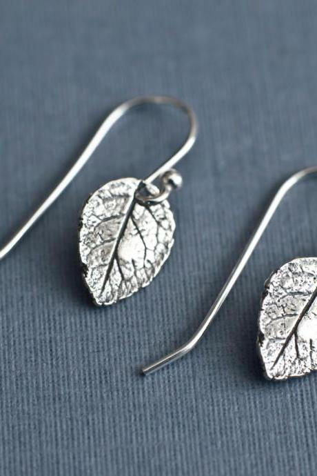 Leaf Earrings, Sterling Silver Rose Leaf Earrings, Tiny Rustic Botanical Leaf Earrings in Sterling Silver, Dainty Modern Everyday Earrings