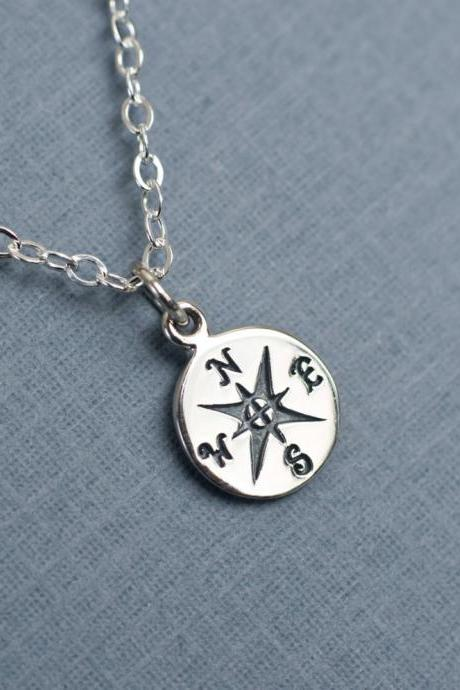 Compass Charm Necklace, Silver Compass Charm Necklace, Friendship Necklace, Nautical Pendant Jewelry, Best Friend Gift, 2013 Graduation Gift