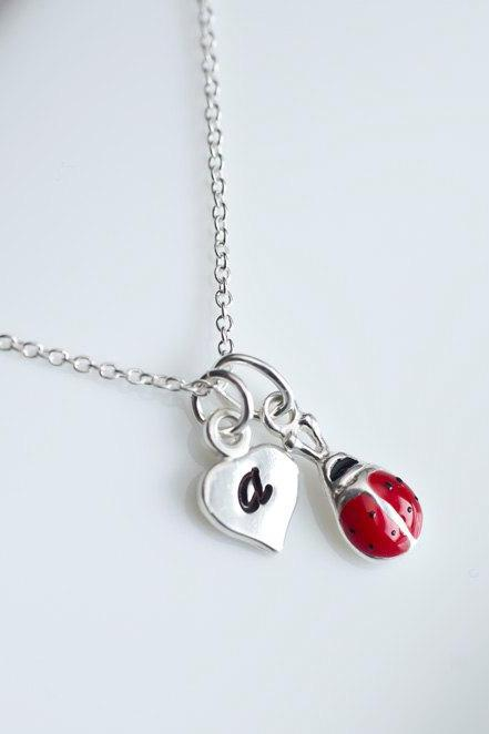 Ladybug Initial Necklace, Sterling Silver Ladybug Initial Necklace, Children Necklace, Personalized Initial Necklace, Flower Girl Gift