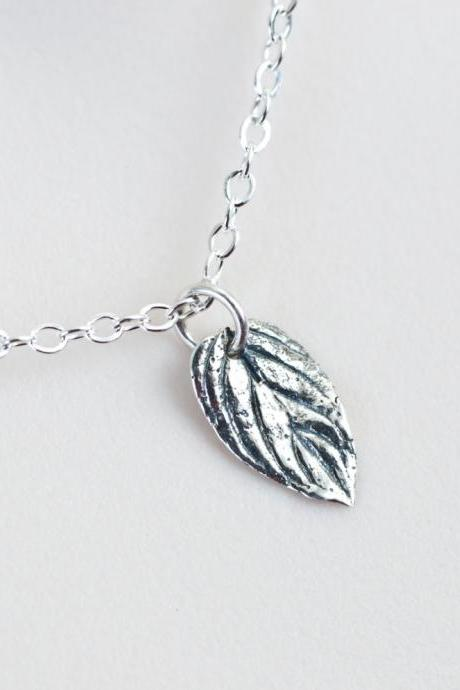 Sterling Silver Leaf Necklace, Silver Mint Leaf Necklace, Single Leaf Pendant, Modern Minimalist Jewelry