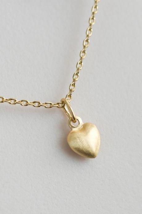 Heart Necklace, Gold Vermeil Heart Necklace, Tiny Gold Vermeil Puff Heart Necklace, Dainty Everyday Jewelry - Valentine's Day Charm Necklace