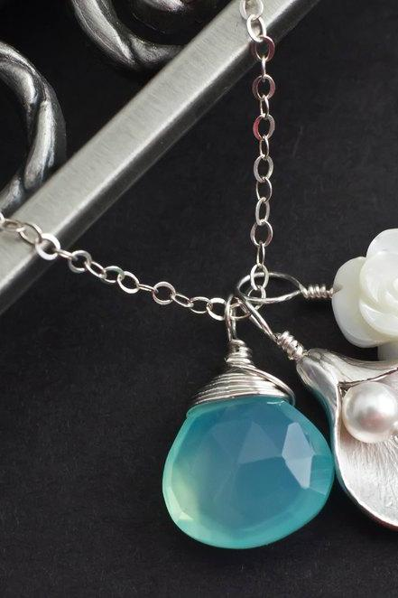 Initial Necklace, Aqua Blue Chalcedony Initial Necklace, Mother of Pearl and Calla Lily Initial Necklace, Personalized Gift, Bridesmaid Gift
