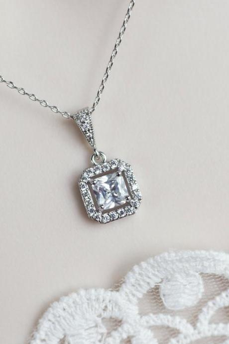 Bridal Necklace, Cubic Zirconia Bridal Necklace, Cubic Zirconia Square Pendant on Rhodium Plated Over Brass Chain, Wedding Bridal Necklace