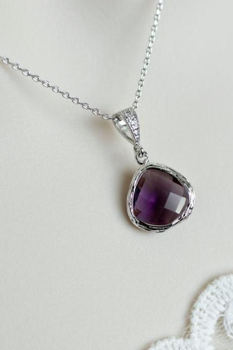 Amethyst Necklace - Purple Amethyst - White Gold Plated Cubic Zirconia Bail with Purple Amethyst Glass Drops, Amethyst Bridesmaids Necklace
