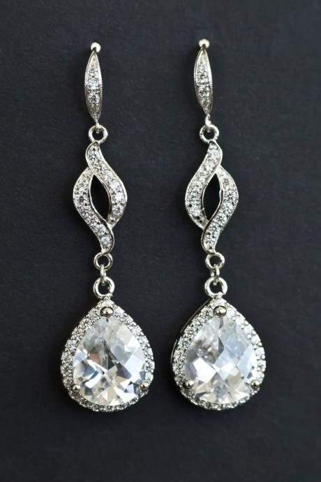 Bridal Earrings, Cubic Zirconia Bridal Earrings, Long Dangle Bridal Earrings, CZ Earwires CZ Marquise Connectors and Large Crystal Teardrops