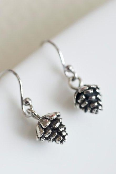 Sterling Silver Pinecone Earrings, Pine Cone, Christmas Gift, Holiday Necklace,Holiday Gift