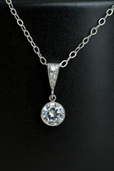 Bridal Necklace, Cubic Zirconia Bezel Pendant, Bridal, Bridesmaid Necklace, Wedding Necklace, Wedding Jewelry,Bridesmaid Gift