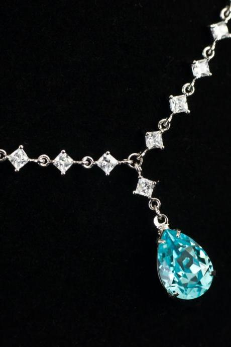 Bridal Necklace, Bridesmaids Necklace, Wedding Bridal Jewelry, Cubic Zirconia Connectores and Light Turquoise Swarovski Teardrop Necklace