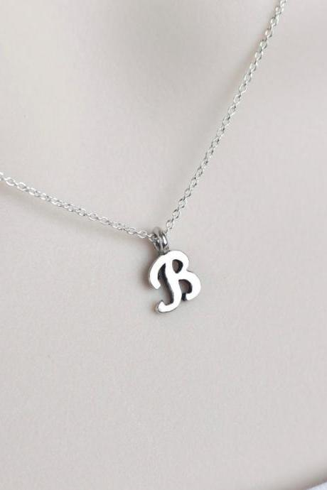 Initial Necklace, Sterling Silver Initial Necklace, Script Initial Necklace, Alphabet Initial Charm Necklace, Dainty Minimal Modern Necklace