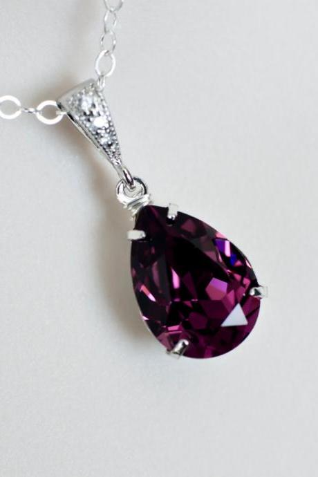 Purple Amethyst Necklace, Bridesmaids Necklace, Swarovski Crystal Amethyst Necklace, Cubic Zirconia Sterling Silver Necklace