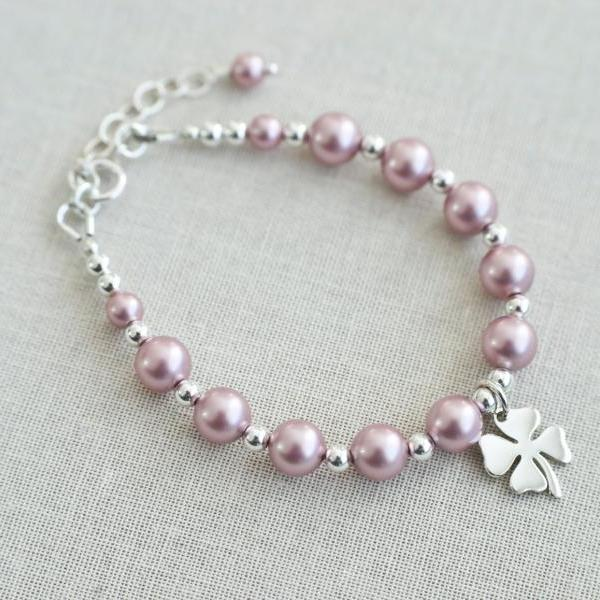 Flower Girl Bracelet, Children Bracelet, Powder Rose Swarovski Pearls and Sterling Silver Clover Charm Bracelet, Child Lucky Charm Bracelet