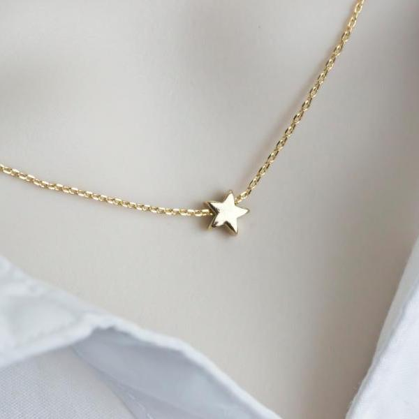 Tiny Star Necklace, Gold Plated Star Necklace, Tiny Gold Plated Star on Gold Plated Chain, Modern Minimalist Necklace