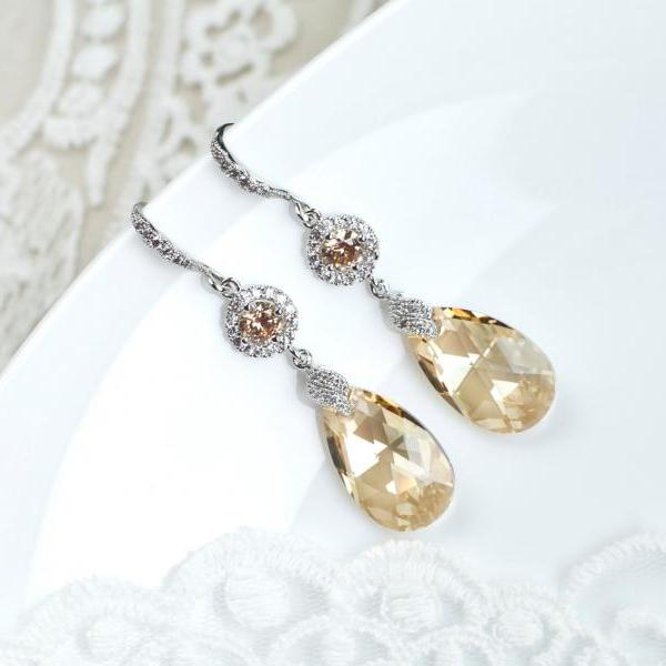 Golden Champagne Bridal Earrings,Bridesmaids Earrings,Cubic Zirconia Large Champagne Golden Swarovski Earrings,Long Dangle Teardrop Earrings