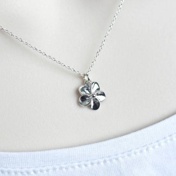 Tiny Sterling Silver Flower Necklace, Small Plumeria Necklace, Sterling Silver Flower Necklace, Floral Botanical Nature Modern Everyday Gift