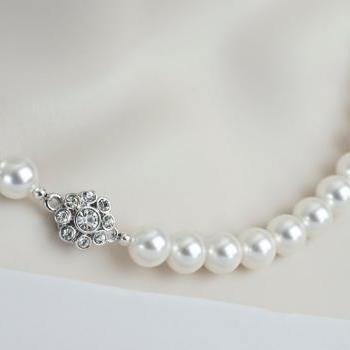 Pearl Necklace, Bridal Pearl Necklace Vintage Style with Swarovski Crystal Pearls, Bridal Classic Necklace