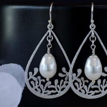 Pearl Earrings, Drop Filigree Pendant and Pear Shape Swarovski Pearls, Bridal, Bridesmaids Earrings