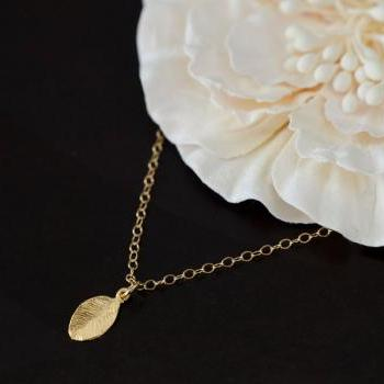 Tiny Leaf Gold Plated Necklace