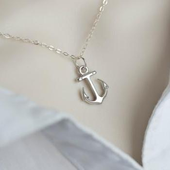 Anchor Necklace, Minimalist Modern Anchor Necklace,Dainty Silver Anchor Necklace - Nautical Jewelry