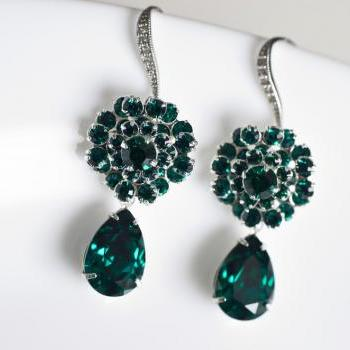 Green Emerald Swarovski Crystal Earrings, Bridesmaids Earrings, White Cubic Zirconia Earwires, Green Emerald Swarovski Earrings