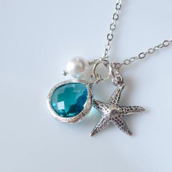 Starfish Necklace,Bridesmaid Gifts,Starfish Necklace,Beach Theme Wedding,Sterling Silver Starfish,Freshwater Pearl, Blue Zircon Drop Pendant