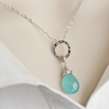 Aqua Blue Quartz Necklace, Sterling Silver Hammered Ring and Custom Stone Briolette Necklace, Bridesmaids Necklace