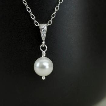 Single Pearl Pendant Necklace, Rhinestone Pearl Bridal Pendant Sterling Silver Chain, Simple, Bridal Jewelry, Solitaire Pearl