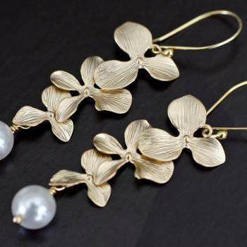 Bridal Pearl Earrings, Triple Orchid and Swarovski Pearls Earrings