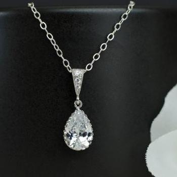 Bridal Necklace, Cubic Zirconia Teardrop Pendant, Bridal, Bridesmaid Pendant